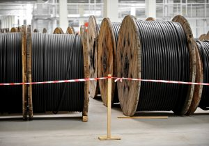 Industrial detail with cable drums inside a depot